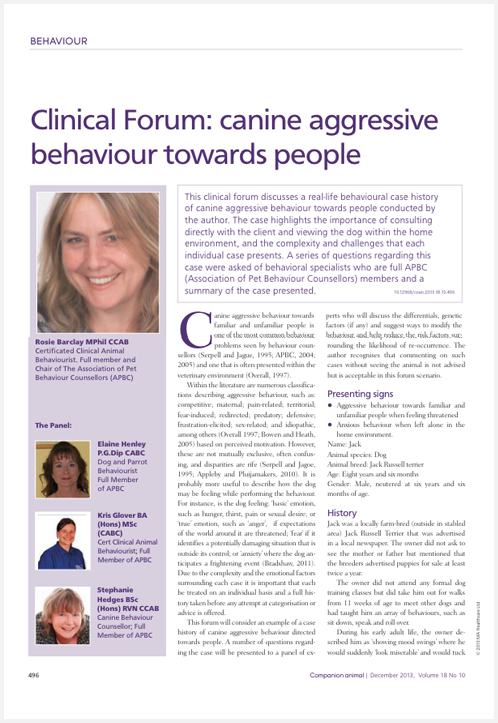 Clinical Forum: Canine Aggressive Behaviour Towards People