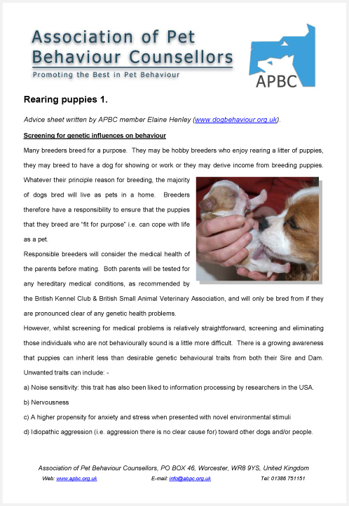 APBC Advice Sheets – Puppy Rearing Advice